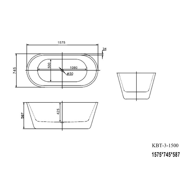 Blanco Freestanding Bath KBT-3 1500 Spec-w2000-h1300