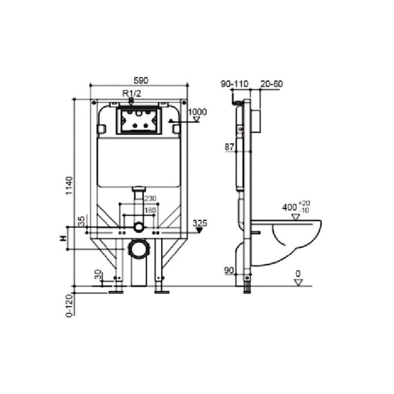 Framed Inwall Cistern G30031 Spec
