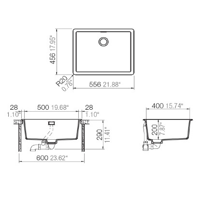 HAfele Quartz sink Dimensions and cut out