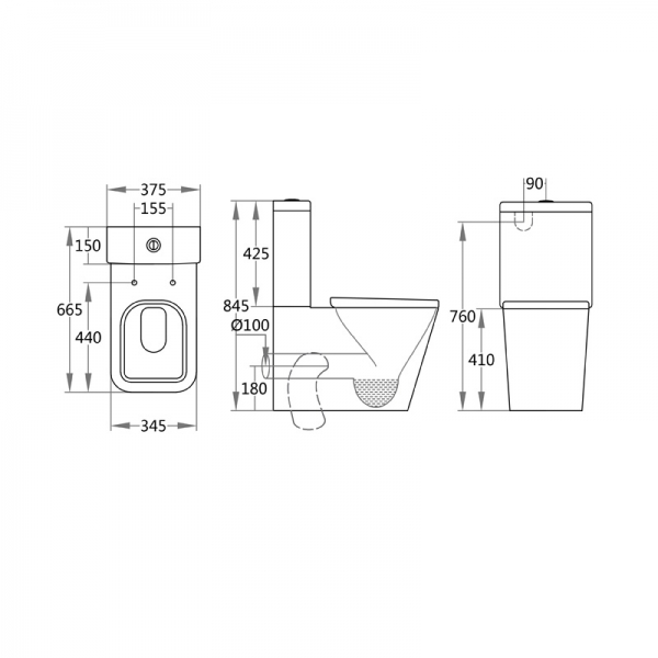 Cascata I WFS - Wall Face Toilet Specifications