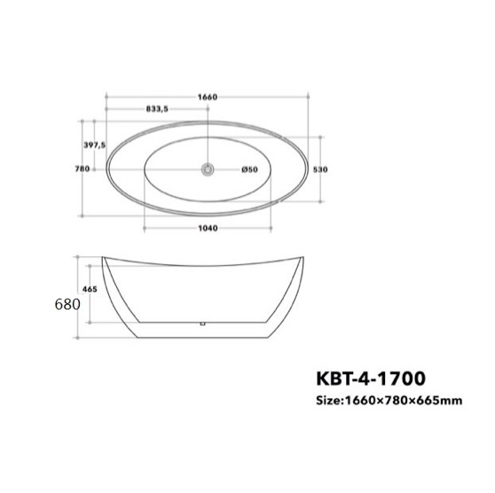 Sienna Free Standing Bath Tub 1700mm Specifications