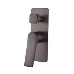 Ivy Square Brushed Gun Metal Grey Wall Mixer With Diverter
