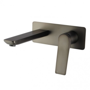 Ivy Square Brushed Gun Metal Grey Wall Mixer with Spout